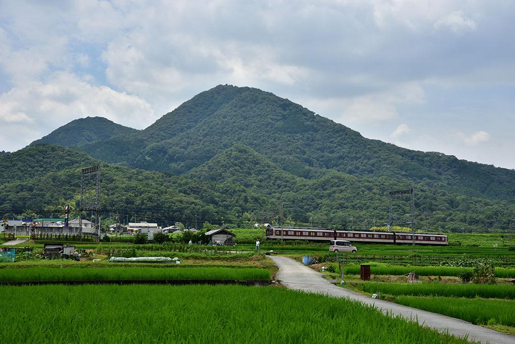 二上山と近鉄電車